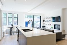 connected kitchen and living spaces
