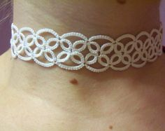 cordón nupcial pulsera pulsera de novia blanco por laceforbrides
