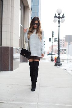 14124693e12e How To Wear A Sweater Dress. - Mia Mia Mine Oversized Grey Sweater