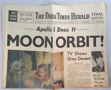 12-24-1968 Dallas Times Herald Newspaper Apollo 8 Does It Moon Orbit NASA