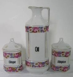 Vintage FLORAL SPICE CANISTERS & Oil Pitcher   by LavenderGardenCottage etsy