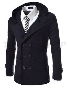 ::::Theleesshop:::: All mens slim & luxury items (ALM-NAVY) Mens casual double slim cotton hood trench coat