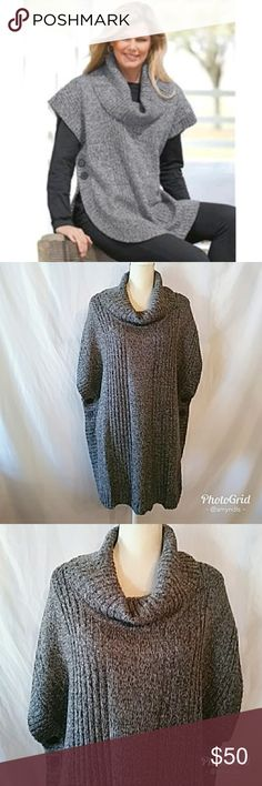 """Cowl Neck Poncho Sweater Cowl neck poncho sweater size - 1X (22-24) in heather grey/heather charcoal. Beautiful piece for layering this winter! It has dropped shoulders and open sides with buttons! Ribbed trim cowl neck, short raglan sleeves and a curved hem. Measures approximately 30"""" long. Falls to upper thigh. Perfect versatile color to wear over any color tunic! Woman Within Sweaters Shrugs & Ponchos"""