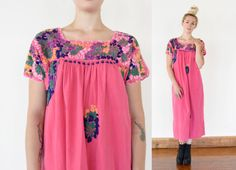 70s Floral Embroidered Mexican Oaxacan Maxi by TANGLEDMANEVINTAGE, $68.00