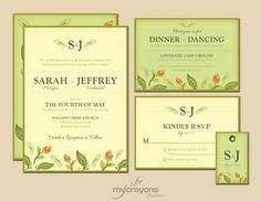 Rustic Spring Blossom Garden Wedding Invitation Set // DIY Printable // Lime Green, Sage and Yellow.