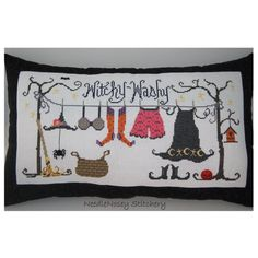 Halloween Cross Stitch Pillow, Black Pillow, Witchy Washy Clothesline