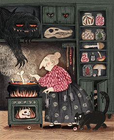 Halloween Illustration, Children's Book Illustration, Potnia Theron, Arte Peculiar, Chesire Cat, Witch Art, Halloween Art, Best Artist, Art Inspo
