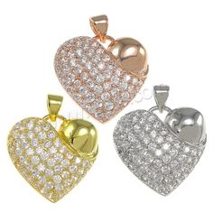 Cubic Zirconia Micro Pave Brass Pendant, Heart. More colours for your choices.