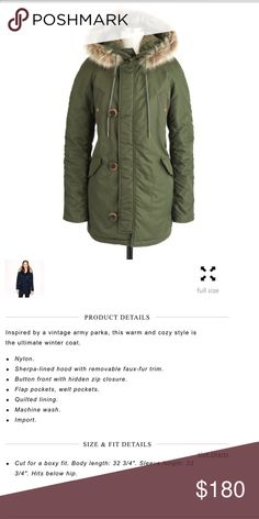 J. Crew Military Parka The warmest coat ever!!!   Only selling because I fell in love with a new color.  It is in excellent condition as it was a backup coat for the coldest days.  I will post the actual pics tonight.  It is very roomy for a small.  Not that you will need to layer under it. J. Crew Jackets & Coats