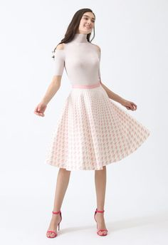 Destination For Houndstooth Midi Skirt in Pink - Retro, Indie and Unique Fashion Unique Fashion, Houndstooth, Midi Skirt, High Waisted Skirt, Girly, Clothes For Women, Indie, Elegant, Skirts