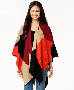 Vince Camuto Colorblocked Poncho Sweater