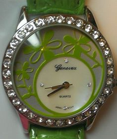 Green with envy. Genevex Ladies Envious Green Leather Band Quartz Watch. Great Gift! $15.38   You gotta have this! #Watch #Jewelry #Fashion #FreeShipping #GottaHave #Bargin #GiftIdeas