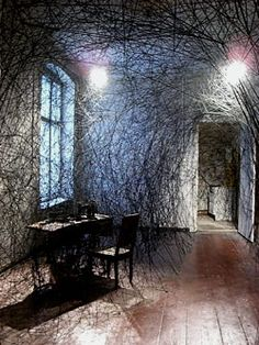 Chiharu Shiota. Installation in an abandoned apartment, formerly inhabited by an old lady.