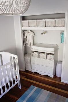 Closet changing table, neutral nursery, white grey aqua. White storage for unisex baby room.