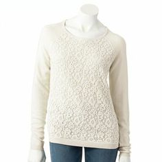 ELLE Crochet Sweater  Large-marshmellow- $24.99 20% off with coupon: cybersave by wednesday