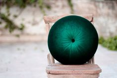 Deep green velvet round pillow16 by fulyad on Etsy