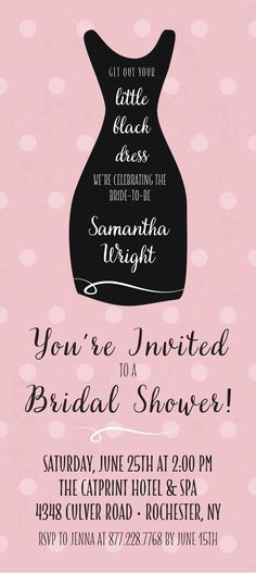 Little Black Dress Bridal Shower Invitation with Polka Dots and Different Color Options | CatPrint Design #1104