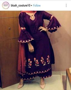 # furshi suit Embroidery Suits Punjabi, Embroidery Suits Design, Embroidery Dress, Dress Neck Designs, Sleeve Designs, Blouse Designs, Designer Punjabi Suits, Indian Designer Wear, Punjabi Suits Party Wear