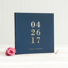 Navy and Gold Wedding Guest Book with Real Gold Foil guestbook