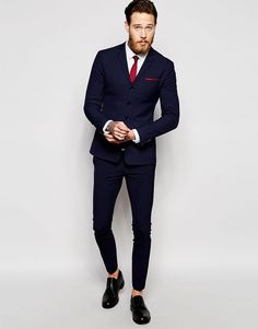 Image 3 ofASOS Super Skinny Four Button Suit Jacket in Navy