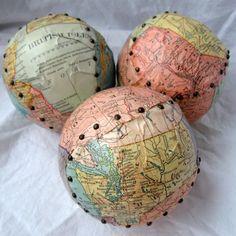 3 Handmade Altered Map collage Softballs
