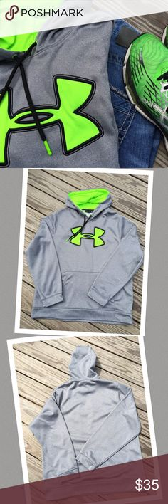 Under Armour hoodie Lightweight 🌟 light gray with neon green 🌟 loose fit 🌟 size L men 🌟 no flaws, snags, rips or tears 🌟 pet/smoke free home Under Armour Shirts Sweatshirts & Hoodies