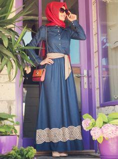 Otantik Kot Elbise - Lacivert- Gamze Polat