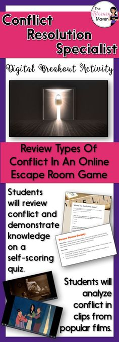 This digital breakout is intended for reinforcing types of conflict: internal and external, person versus self, person, society, nature, fate/God, the supernatural, and technology.In this Escape Room-like game, students will interact with a variety of text and media. Students will use all of this information to find the codes that will unlock a series of locks. This unique activity will require students to think creatively and work collaboratively.