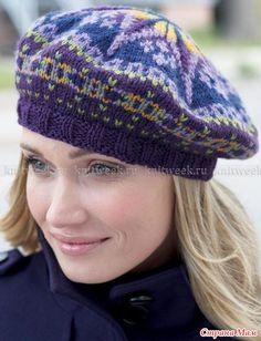 Всем Доброго дня!!!  Холода не за горами, пора уже давно приготовить шапочки, береточки и шарфики. Очаровательный женский берет спицами, выполненный из шерстяной пряжи красивых цветов.