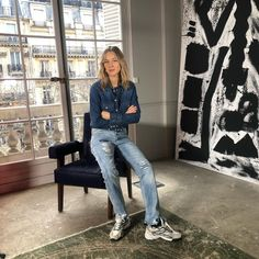 """Cecilia Bonstrom's Instagram photo: """"#justanormaldayatwork @zadigetvoltaire #totalook#thelma#shirt#wave#baskets#erini#jeans @cecil_jewelry #earring"""" Alook, Mom Jeans, Wave, Baskets, Pants, Shirts, Jewelry, Instagram, Fashion"""
