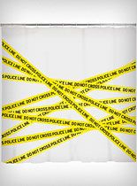 Crime Scene Shower Curtain at PLASTICLAND. Another great addition to the bathroom for halloween :D