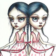 Gemini - Zodiac Girl signed 8x10 pop surrealism lowbrow Fine Art Print by Mab Graves -unframed by mabgraves on Etsy https://www.etsy.com/listing/244097448/gemini-zodiac-girl-signed-8x10-pop