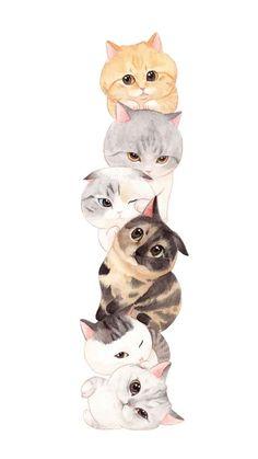 Cat Phone Wallpaper, Cute Cat Wallpaper, Kawaii Wallpaper, Cute Wallpaper Backgrounds, Cute Cartoon Wallpapers, Wallpaper Art, Image Chat, Cute Animal Drawings Kawaii, Cat Drawing