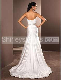 A-line Sweetheart Court Train Satin Chiffon Wedding Dress