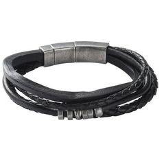 Black leather man's bracelet with stainless steel pieces. Certificate of authenticity. 6 months of warranty.