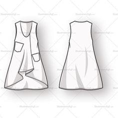 Women's Sleeveless Tunic Fashion Flat Template