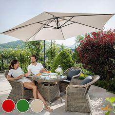 Parasol excéntrico para tu terraza con protección UV. No te la pierdas! Rattan Furniture, Garden Furniture, Outdoor Furniture Sets, Outdoor Decor, Bar, Beige, Aluminium, Modern, Child Room