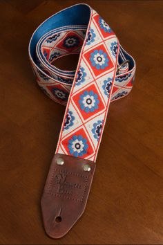 White/Red/Blue Retro 60's Flower Guitar Strap by nowherebearstraps, $55.00