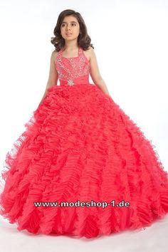 Blumenmädchenkleid Prinzessin Aurora Ballkleid Abendkleid für Mädchen in Orange Rot  www.modeshop-1.de