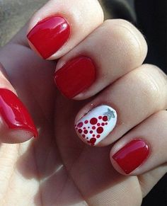 Red Prom Nail Design With One White Dotted Nail.