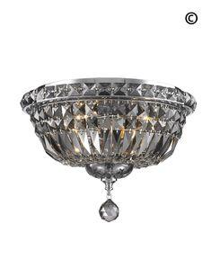 Empress Flush Mount Basket Chandelier - CHROME & SMOKE- W:35cm – Designer Chandelier Australia