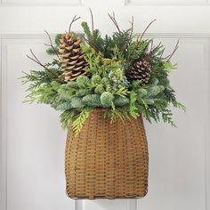 Williams-Sonoma door basket, greenery, Christmas