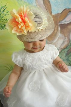 Baby Straw Easter Hat... What a cutie.