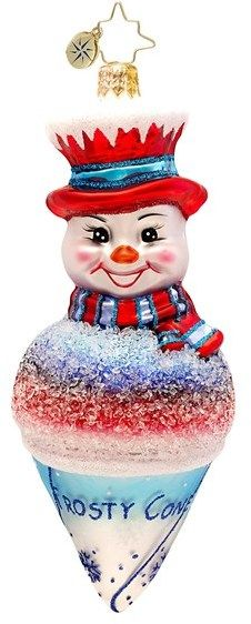 Christopher Radko 'Frosty Snowcone' Handcrafted Glass Snowman Ornament