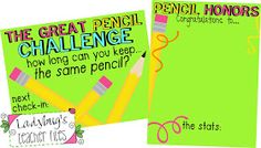 Awesome idea!! Ladybug's Teacher Files: Pencil Honors! (The Great Pencil Challenge Part 2)