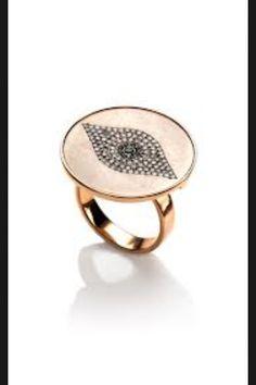 Evil eye gold ring