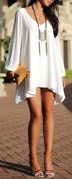 Split Sleeve Chiffon Dress ღ