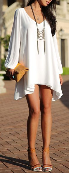 Split Sleeve Chiffon Dress ღ