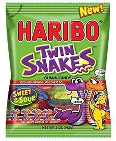 Haribo Gummi Candy 4.5 Oz Bag Twin Snakes Gold Gummi Sour Gold Gummi 2 Each #HARIBO