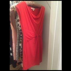 Sleeveless Michael Kors Dress A great pop of color for spring! This dress falls just above the knee and has a very flattering pull at the waist. Size: Small. Michael Kors Dresses Midi